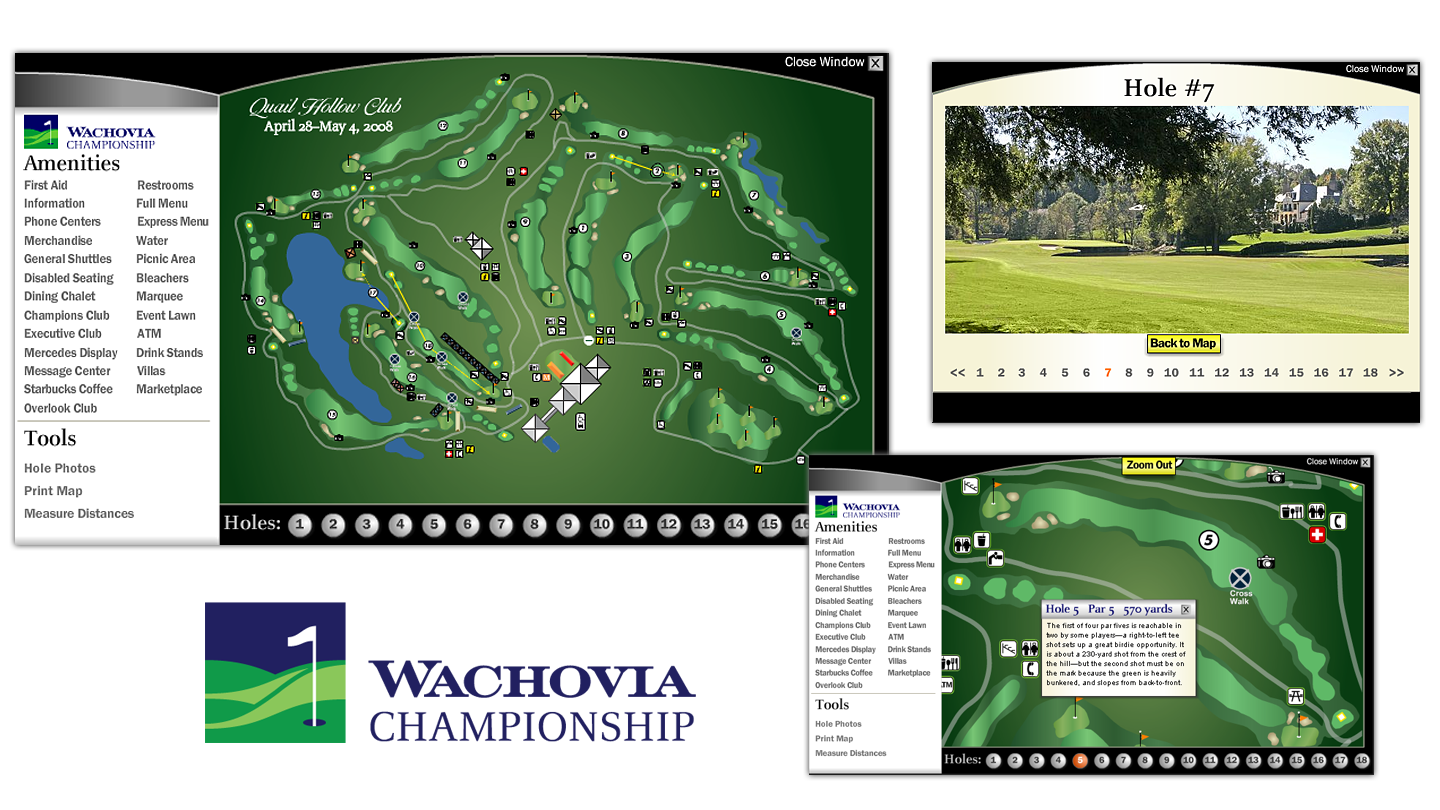 Screenshots of the interactive map for the Wachovia Championship